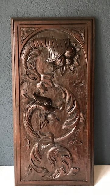 Wood carving panel - mythical beast - Walnut - about 1880