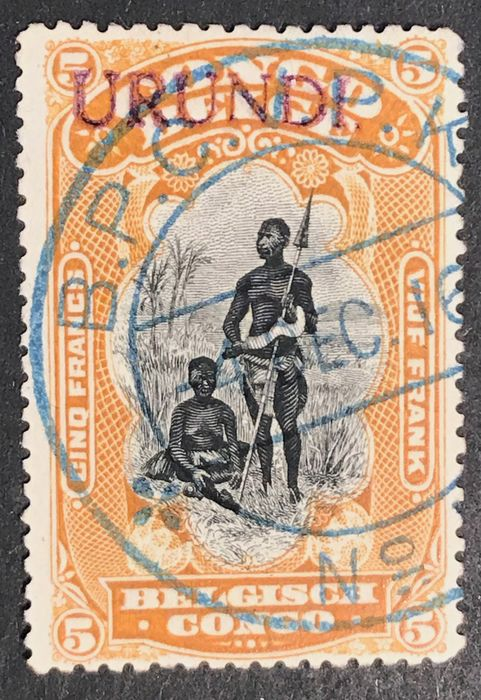 Ruanda-Urundi 1916 - 'Tombeur Urundi' 5fr orange luxury cancellation 'BPCVPK', with multiple signatures + certification - OBP / COB 23