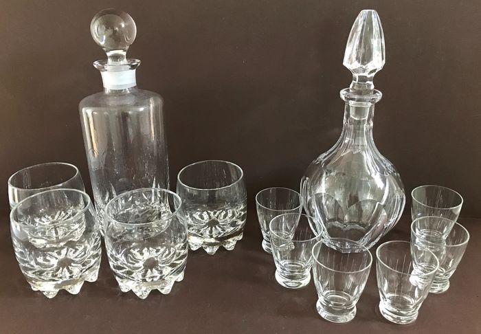 Two carafes with glasses (12) - Crystal
