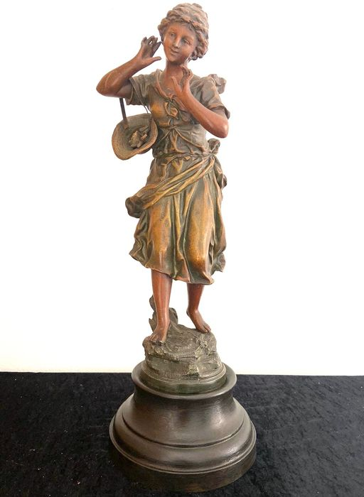 """Auguste Moreau (1834-1917) - Large Statue, """"Young Lady"""" - 47.5 cm high - Spelter - early 20th century / No Reserve Price"""