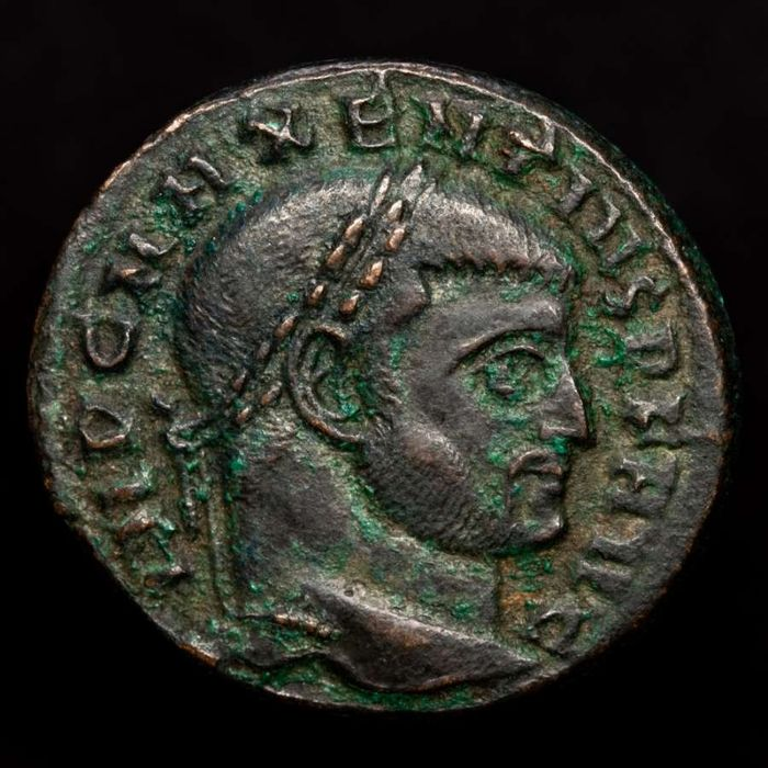 Roman Empire. Maxentius (AD 306-312). Æ Follis,  Rome mint   CONSERV VRB SVAE / RBS Roma seated within hexastyle temple