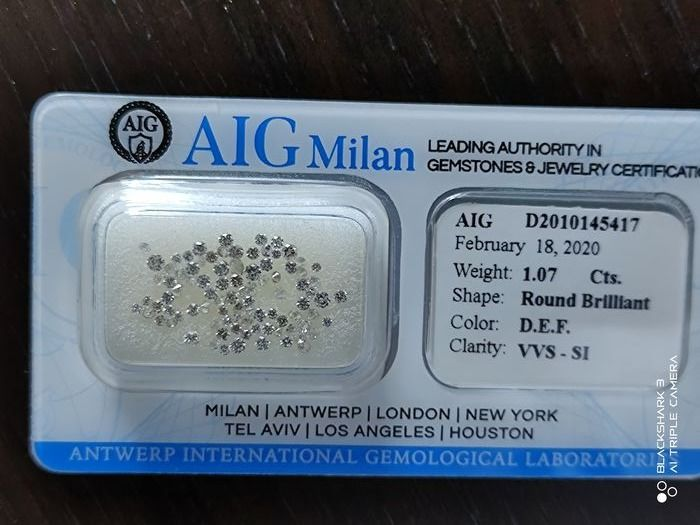 91 pcs Diamonds - 1.07 ct - Brilliant, Round - D (colourless), E, F - VVS - SI