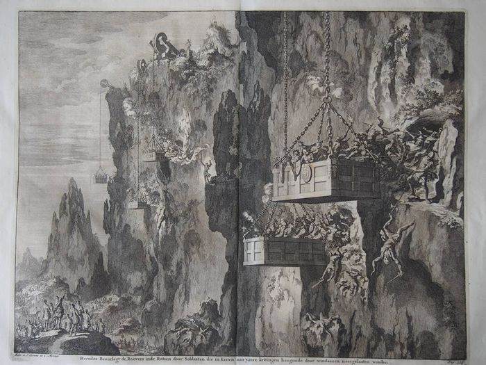Jan Luyken (1649 - 1712) - 2 large biblical copper engravings - * Soldiers in boxes lowered from the cliff top  *Jonas preaches in Nineve