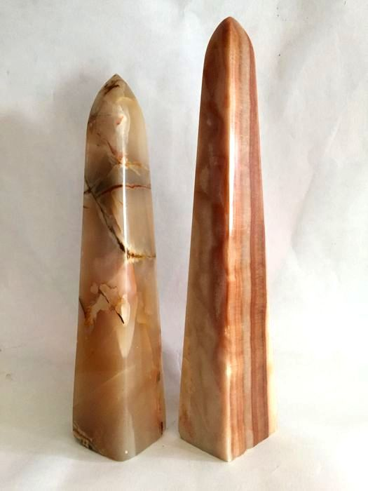 Big and beautiful two Obelisk in natural of Agate and Onyx Mineral Collection - 33.5×6.5×5.5 cm - 3355 g - (2)