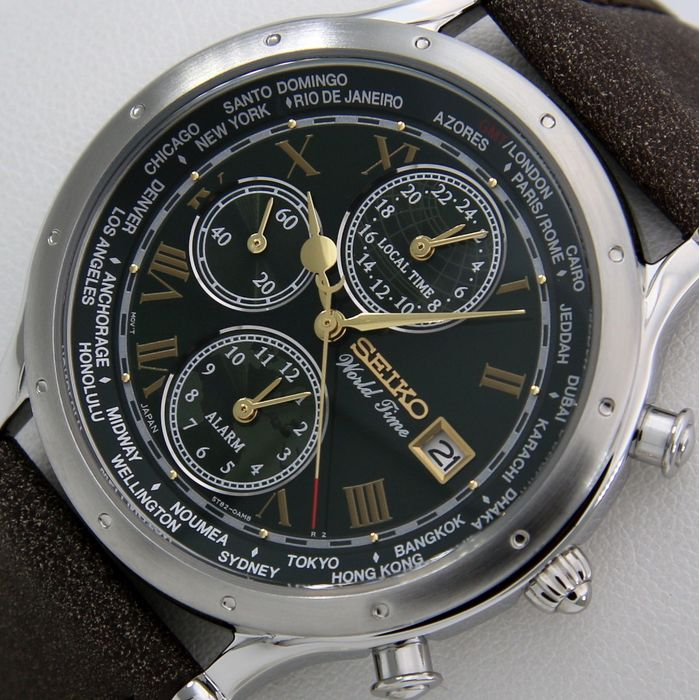 """Seiko - 30th Anniversary Age of Discovery - World Time - Alarm - LIMITED EDITION - """"NO RESERVE PRICE"""" - - Green Dial - 男士 - 2019"""