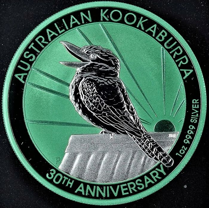 Australie. 1 Dollar 2020 P JM 'Australian Kookaburra' 30 th Anniversary - type Space Green - with Box and Coa - 1 Oz