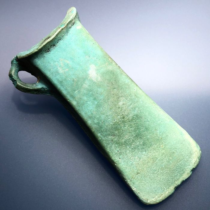 Prehistoric, Iron Age Bronze Exceptionally Well Preserved Looped Socketed Axe with a Wonderful Emerald Like Natural Green Patina