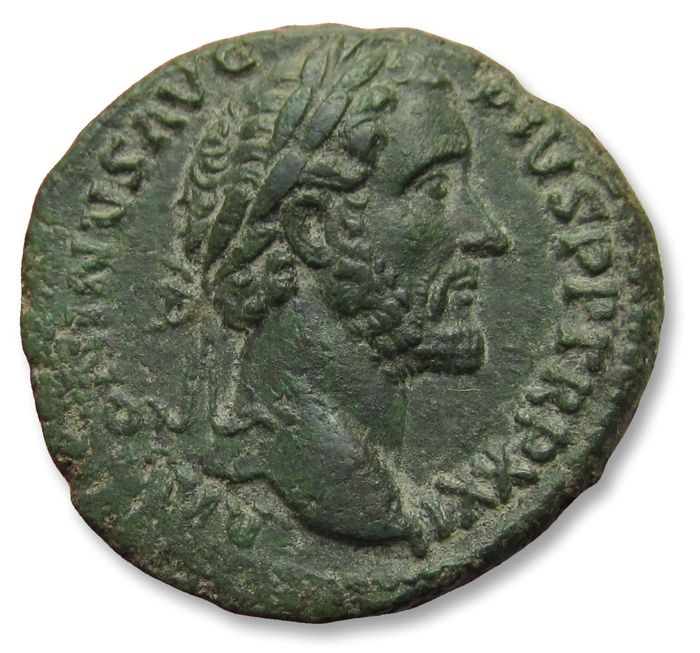 Römisches Reich - AE 27mm As struck under Antoninus Pius - rare cointype (this reverse usually sestertius or Rome mint, 158-159 A.D. - Octastyle temple for Divus Augustus & LIvia on reverse - Bronze
