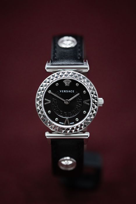 """Versace - Mini Vanity Collection Black Leather Strap Swiss Made - VEAA0018 """"NO RESERVE PRICE"""" - Damen - Brand New"""