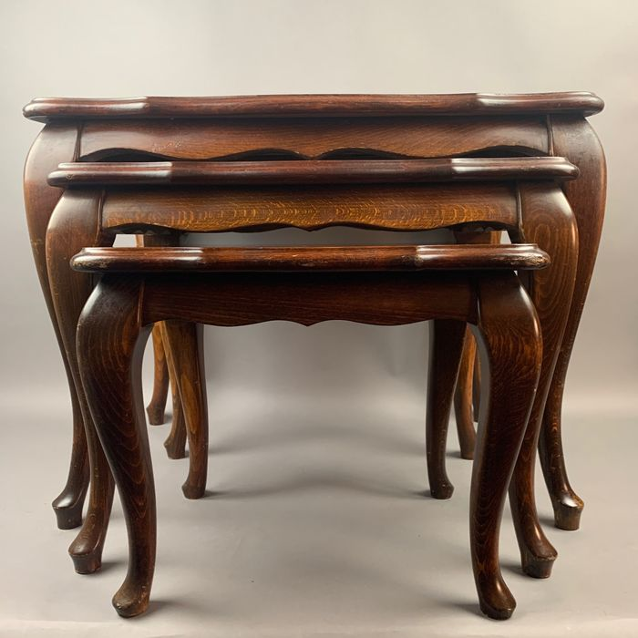 mimiset of three nesting tables - Queen Anne Style