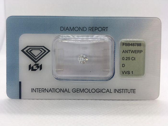 1 pcs Diamond - 0.25 ct - Brilliant - D (colourless) - VVS1