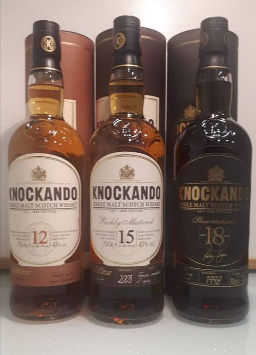 Knockando 12 years - 2003 15 years old - 1998 18 years old - Original bottling - 70cl - 3 bottles