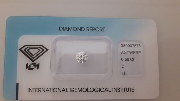 1 pcs Diamond - 0.56 ct - Round - D (colourless) - IF (flawless), LC (loupe clean)