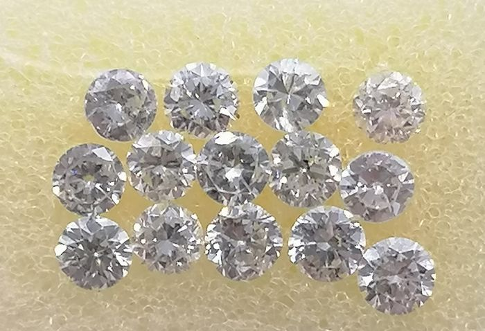 14 pcs Diamanti - 0.98 ct - Brillante - D (incolore), E, F - ***no reserved price***vs2,si1,si2