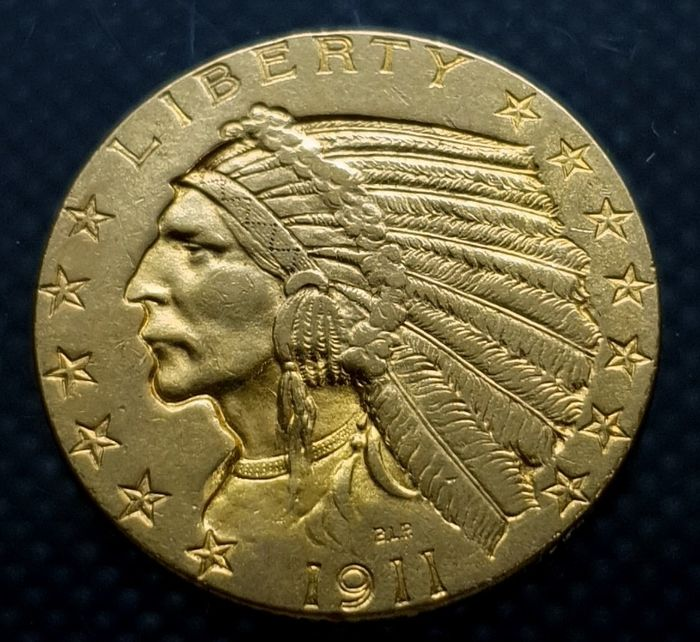 United States. 5 Dollars 1911 - Indian Head