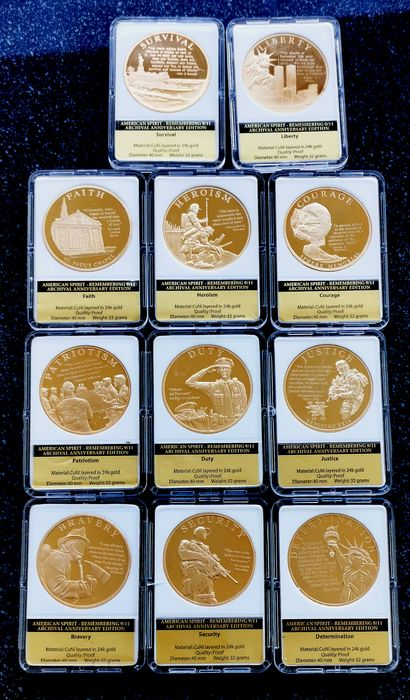 United States - Medals 2001 'The American Spirit 9/11' (11 pieces) gold plated