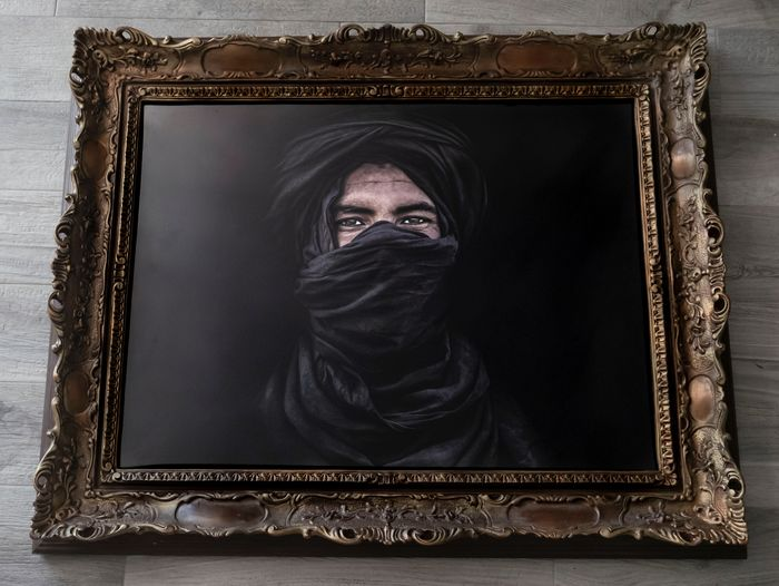 "Roberto Ruberti (1981) - ""Black Amazigh"", Moroccan Sahara, 2015 - BIG SIZE NEW ORIENTALISM UNIQUE ARTWORK"