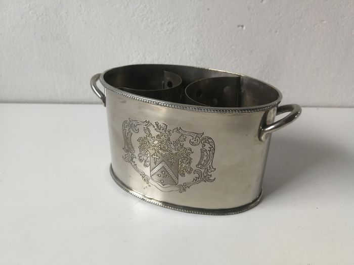 """Silver plated wine cooler - champagne cooler for 2 bottles - with beautiful engraving """"coat of arms"""" - Silverplate"""