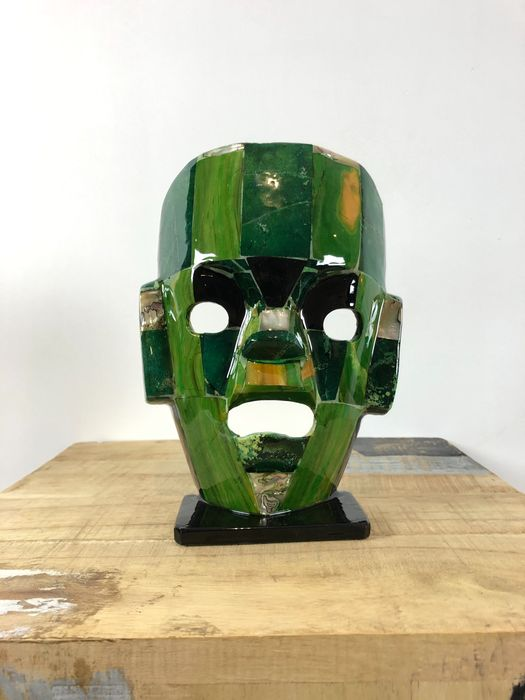 Mexican Burial Mask from mosaik stones - 21×15.5×6.5 cm - 608 g - (1)