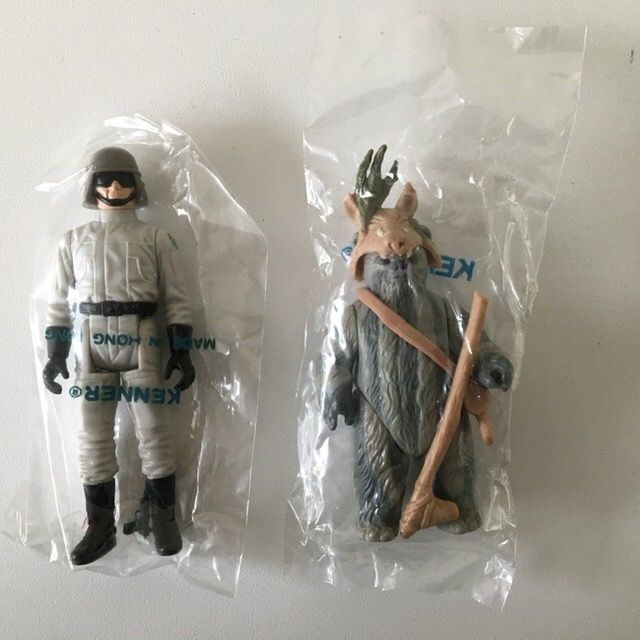 Star Wars - Kenner - Pupazzetto lot of 2 - Teeno Ewok & AT-ST Driver Kenner Baggie - vintage - 1983