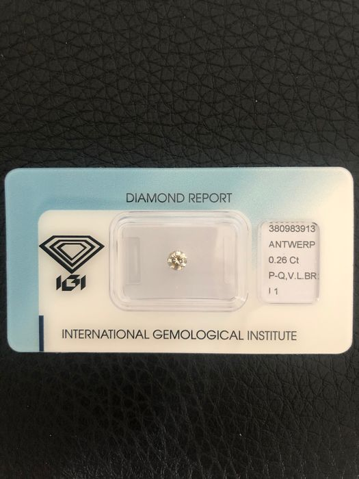 1 pcs Diamond - 0.26 ct - Brilliant - very light brown - I1