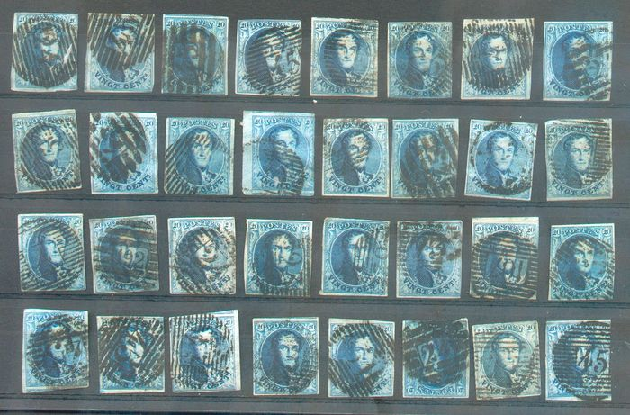 België 1851 - Medallions 20 cts blue, very nice set of 200 stamps, all conditions, including some superb specimens - OBP / COB 7-11-11A-15