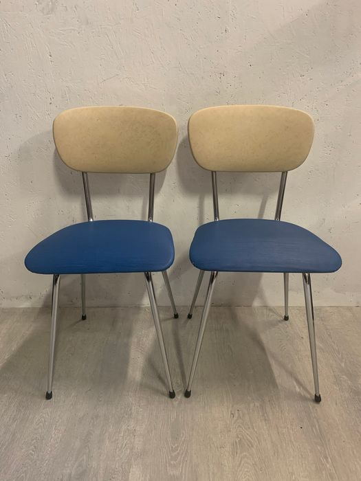 Set of 1970s chairs Blue / White