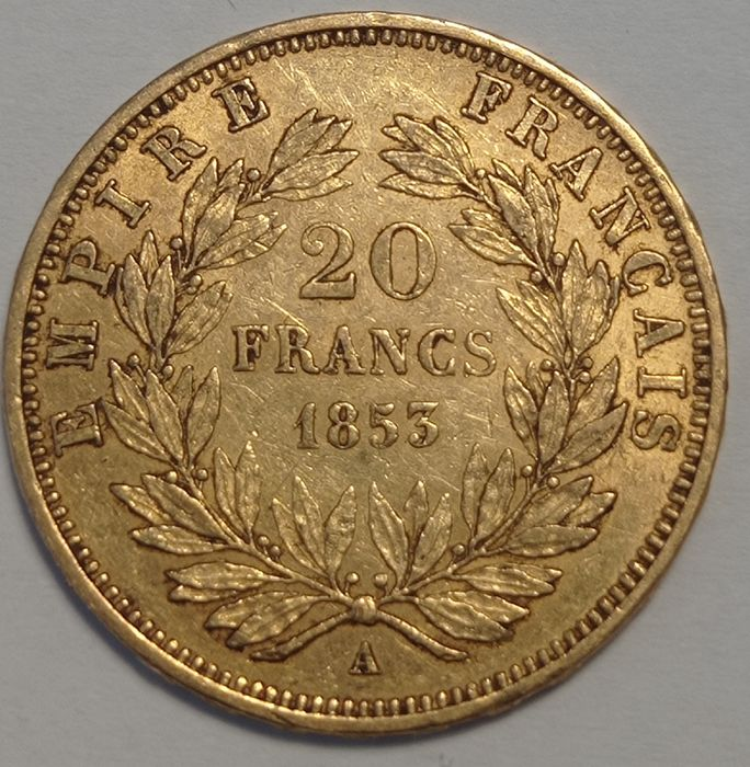 France - Napoleon III - 20 Francs 1853-A (Paris) - Gold
