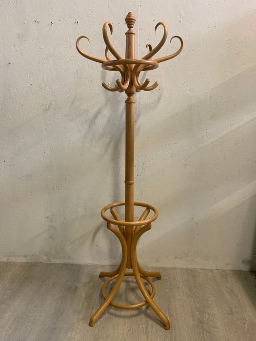 Standing coat rack with umbrella box in the Thonet style