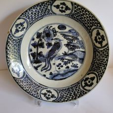 Bord (1) - Porselein - Large plate 28 cm d. Swatow - China - Ming Dynastie (1368-1644)