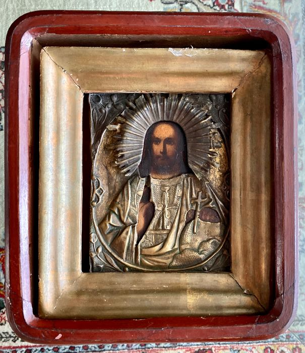 Icon, Christ Pantocrates, kiot - Oil on the table - Late 19th century