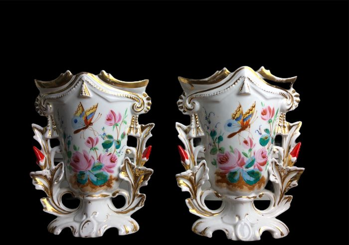 Pair of hand-painted and gilt floral old paris porcelain spill vases