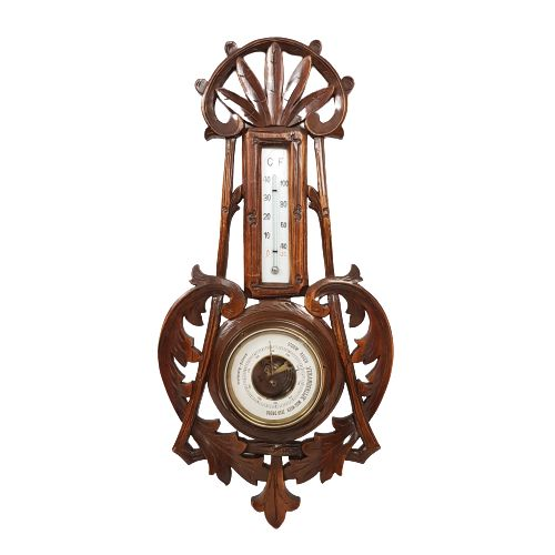 Victoriaanse Aneroid Barometer ca. 1880! - Hout, Messing