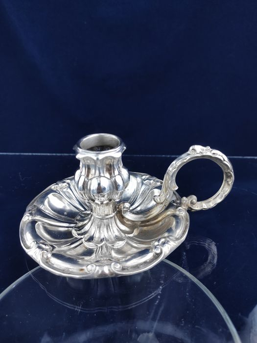 Antique silver walking candlestick - .813 silver - Dominikus Kott - Germany - Mid 19th century