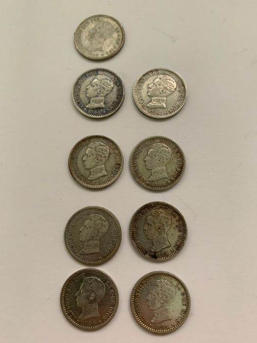 Spain - Alfonso XIII - 9 Itens - 50 Centimos 1904 - Silver