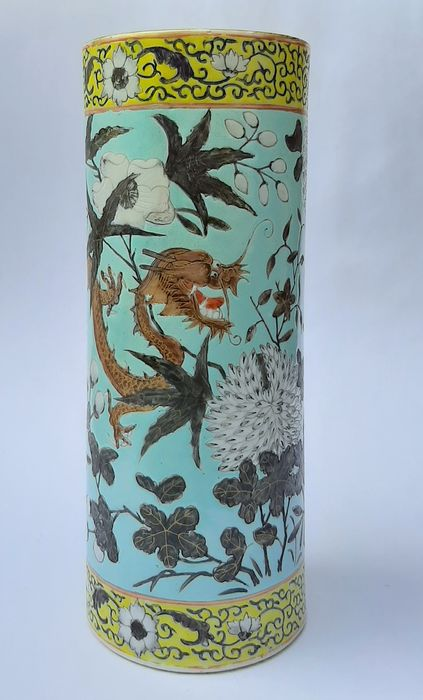 Vase - Da Ya Zhai pattern - Porcelain - Dragon - High Quality  turquoise Dragonvase - China - Guangxu (1875-1908)