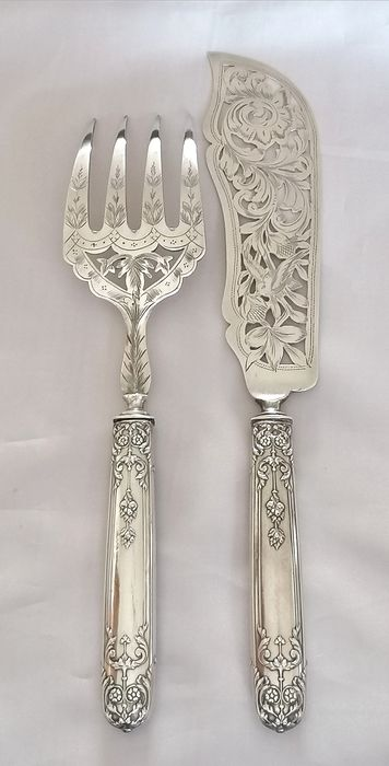 Fish serving set - .950 silver, Silverplate - Henri Soufflot 1884 1910  - France - Late 19th century
