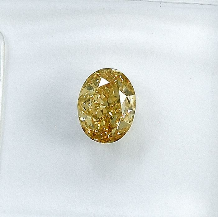 Diamant - 0.52 ct - Oval - Natural Fancy Light Brownish Orangy Yellow - VS2 - NO RESERVE PRICE