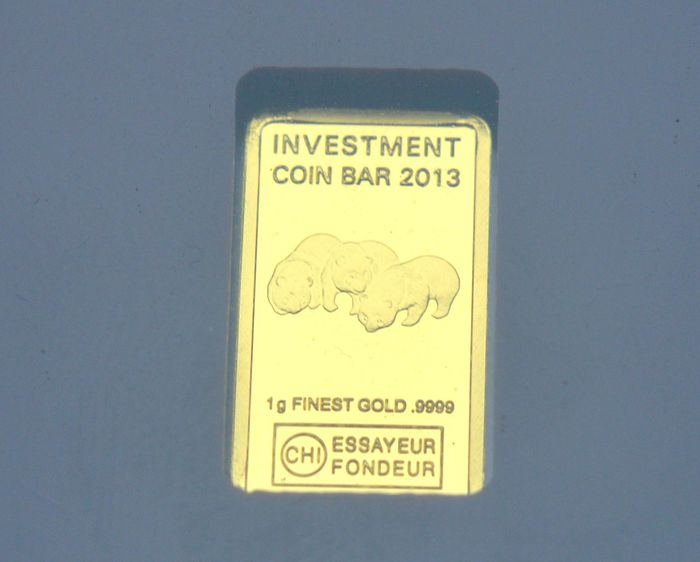 Gabon - 3000 Francs  2013 Investment Bar - Panda - Or