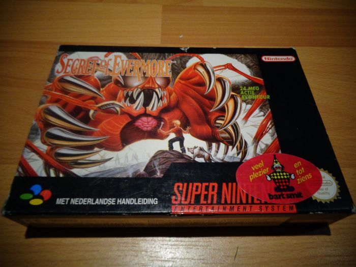 "Nintendo Snes - ""Secret of Evermore"" with Rare Poster and Fully Complete - Dans la boîte d'origine"