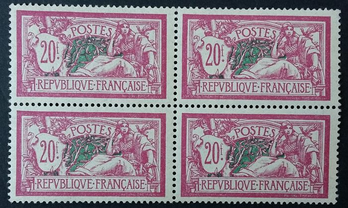Frankreich 1925/26 - Merson, 20 francs lilac-pink and green-blue, block of 4. - Yvert 208