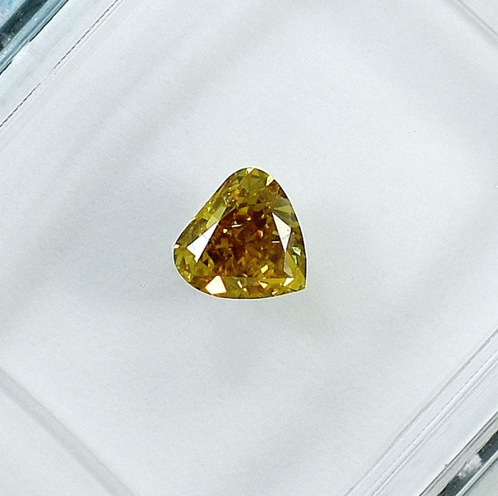 Diamant - 0.34 ct - Birne - Natural Fancy Deep Brownish Yellow - Si1 - NO RESERVE PRICE