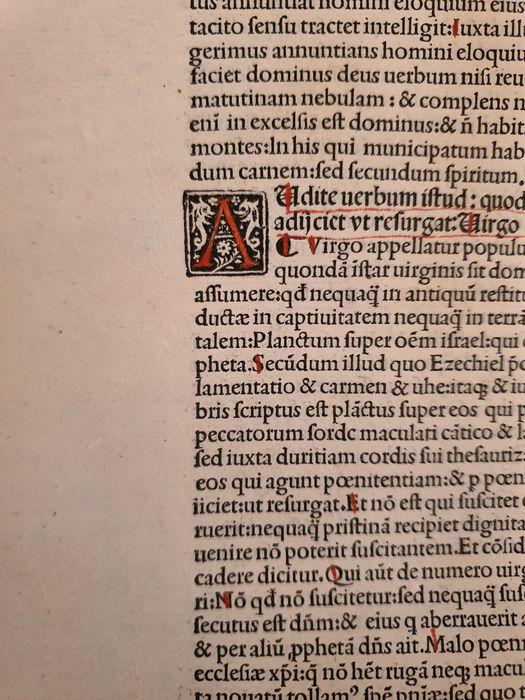 4 leaves from St. Jerome's biblical commentaries - 1498