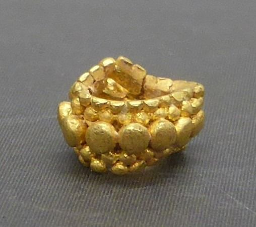 Viking Gold decorated bead - 4×6×6 mm