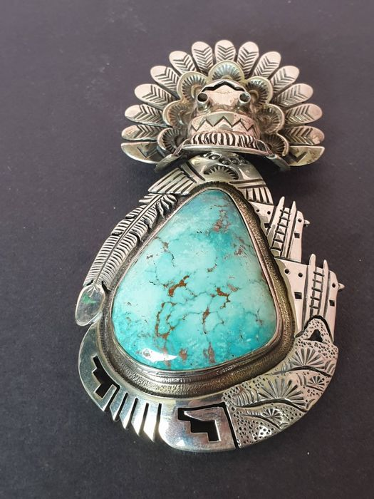 Pendente - Argento sterling e turchese raro - Ahola kachina - made by John Charley - Navajo - Arizona, USA