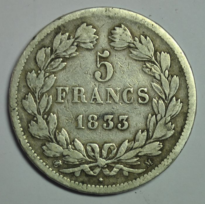 France - Louis Philippe I - 5 Francs 1833-M (Toulouse) - Silver