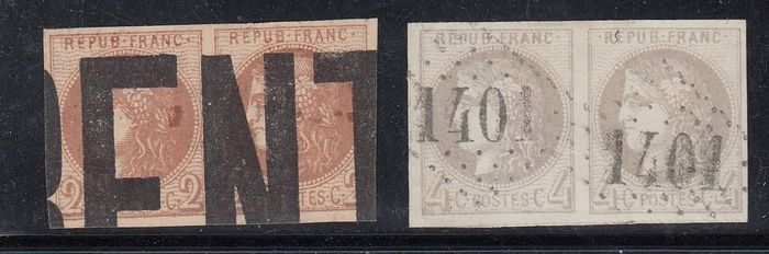 Francia - Set of 2 pairs of Bordeaux, 2 centimes red-brown and 4 centimes grey, signed Calves. - Yvert 40B/41B