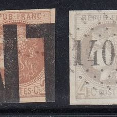 Frankrike - Set of 2 pairs of Bordeaux, 2 centimes red-brown and 4 centimes grey, signed Calves. - Yvert 40B/41B
