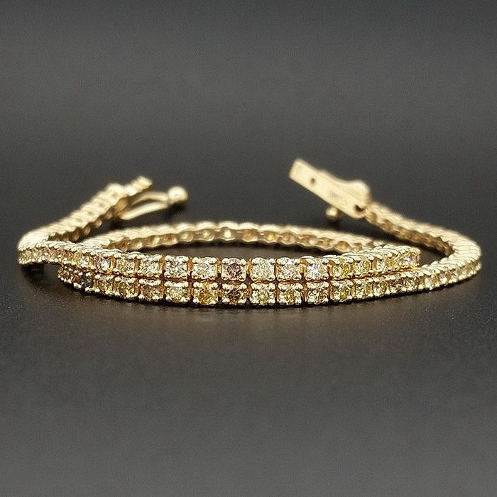 1.35ct Natural Fancy Mix Colors Diamonds - 14 kt. Yellow gold - Bracelet - ***No Reserve Price***