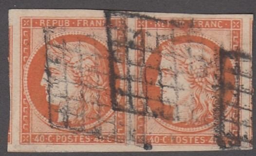 Francia - Ceres, imperforate, 40 centimes orange, in a pair, wide margins. - Yvert 5
